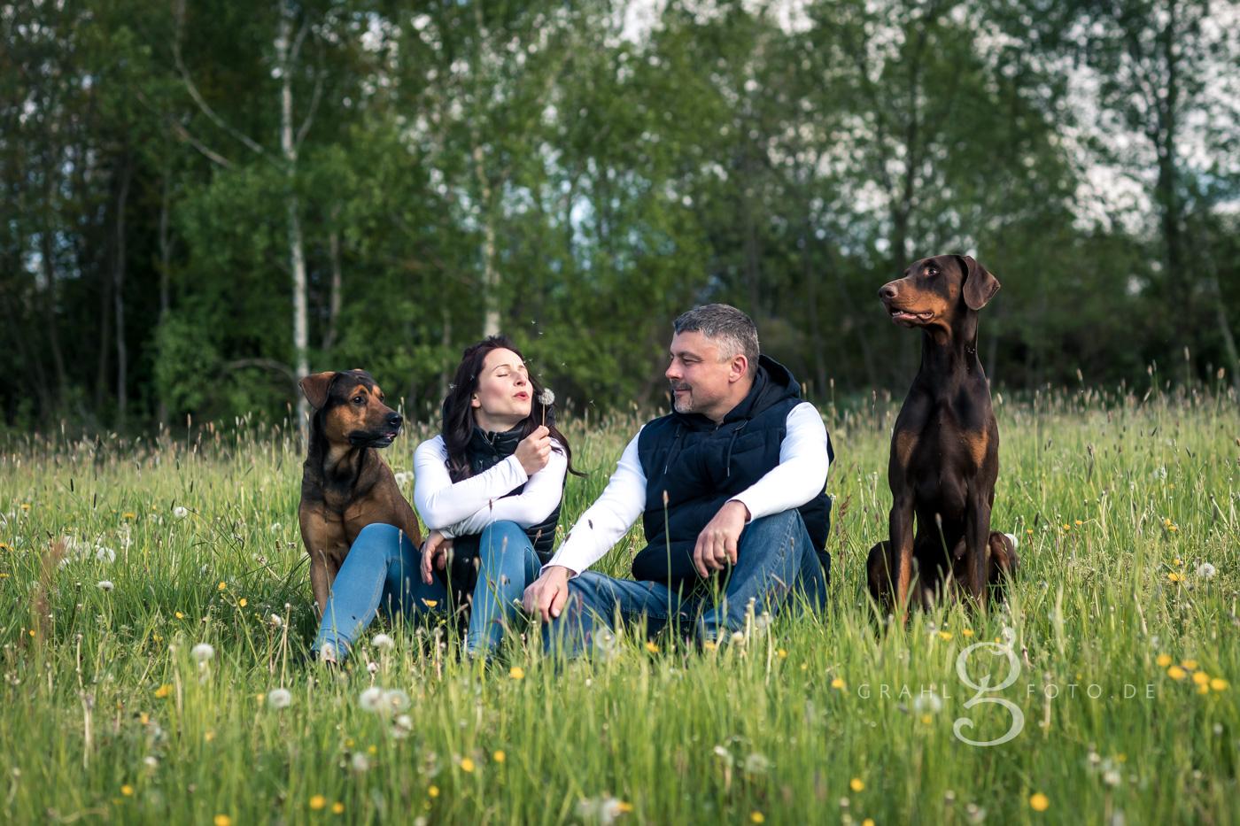 Grahlfoto.de Familienshooting Pärchenshooting mit Hunden draußen outdoor mit Cordula Maria Grahl Ausflug mit Fotos